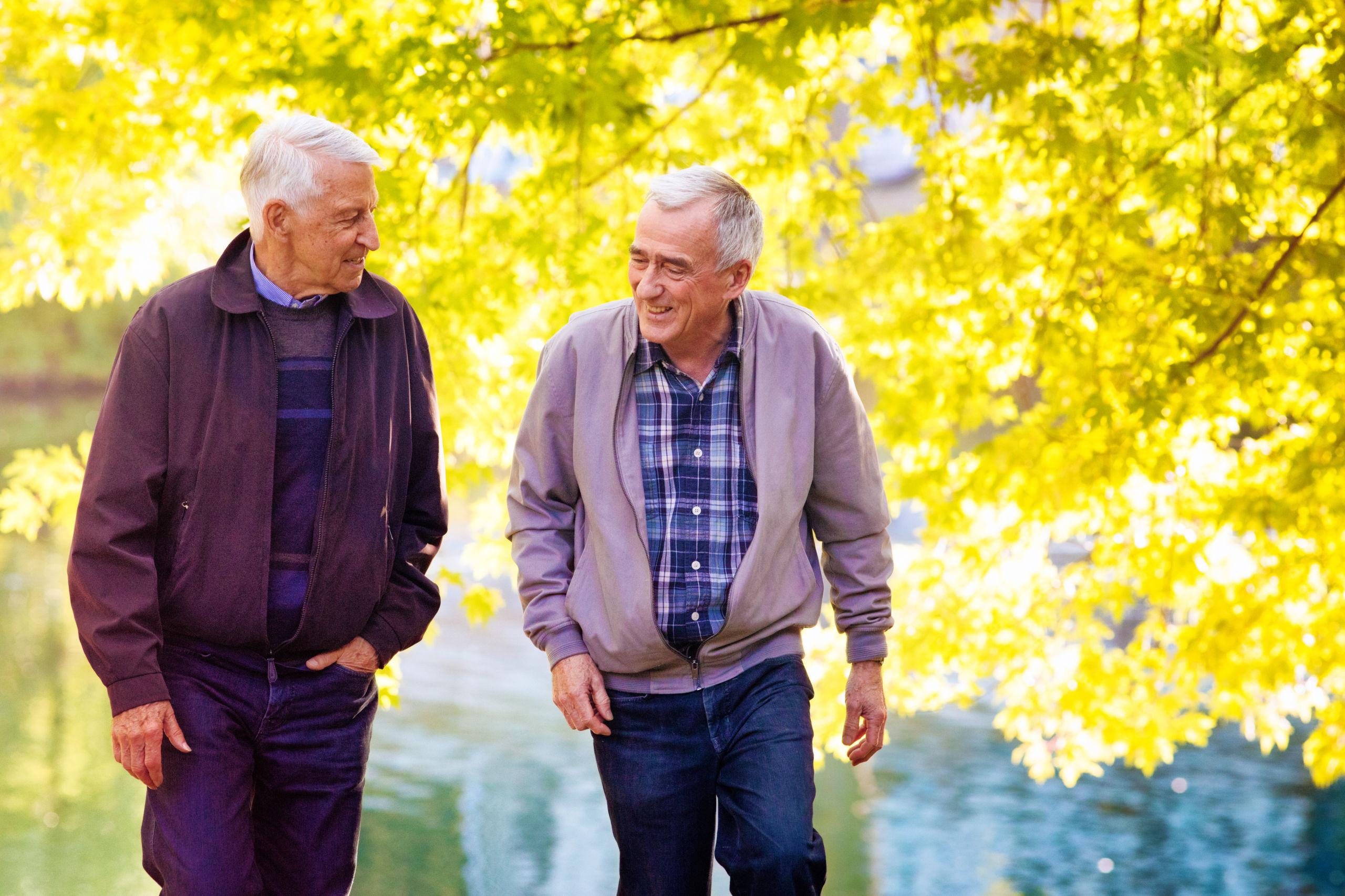 2 mannen lopen na revalidatie vrolijk door een park